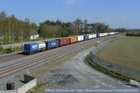 Trailing view of the up IWT liner at Stacumny Bridge, April 19, 2014. Lumix LX3 photo.