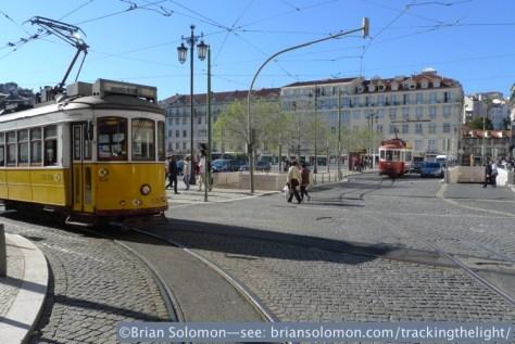 Lumix LX3 photo; Lisbon April 6, 2014. Tram traffic jam.
