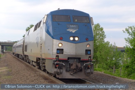 Amtrak 475 approaches its station stop at Windsor Locks, Connecticut at 4:25pm, May 27, 2014. Exposed using my father's Lumix LX-7. Photo sent from this train using Amtrak's WiFi.