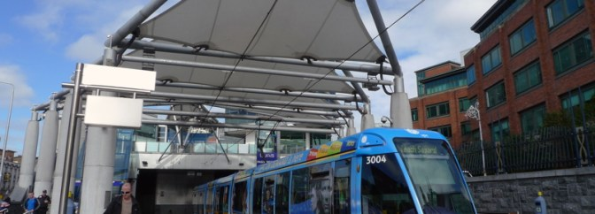 Blue LUAS—Connolly Station.