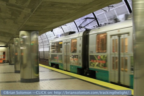 Boston's Green Line Subway at North Station on June 2, 2012. Exposed with a Canon 7D with 28-135mm image stabilization zoom lens.
