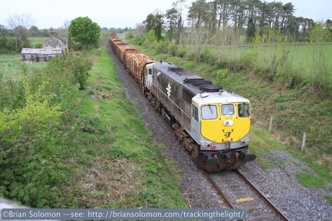 Last shot of the day: Irish Rail 072 leads the laden timber at Oghill, milepost 36. Exposed with a Canon EOS 7D with 20mm lens.