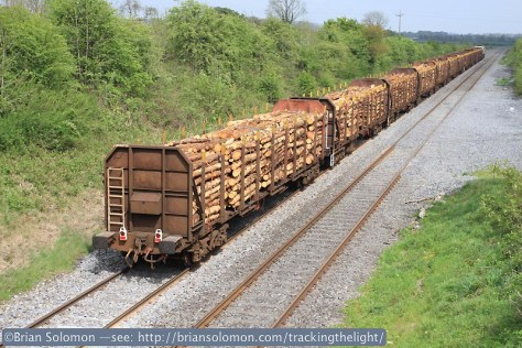 Trailing view of the laden timber at Hybla Bridge.