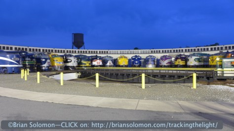 Classic diesels lined up around the turntable at Spencer. Lumix LX-7 photo.