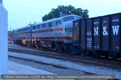 Lackawanna painted Fs with a photo freight at dusk. Lumix LX-7 photo.