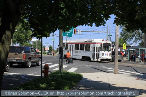 SEPTA's number 34 streetcar works west.