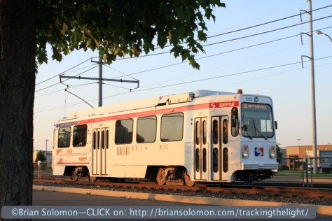 SEPTA number 36 streetcar outbound at Eastwick.