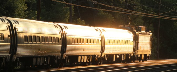 Amtrak Keystone Catches the Sun at Wayne.