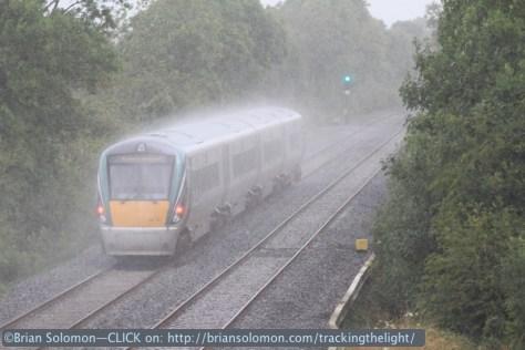 An uproad ICR races toward Dublin in the rain. Canon EOS 7D with 200mm lens.