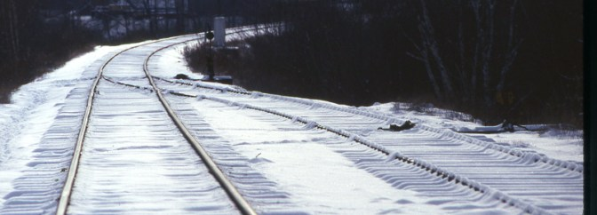 Maine Central Tracks in the Snow.