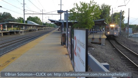 The Dinky arrives at Princeton Junction on June 29, 2014. Lumix LX7 photo.