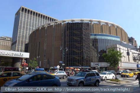 Madison Square Garden, which as someone famously pointed out, is neither! Pennsylvania Station is below.