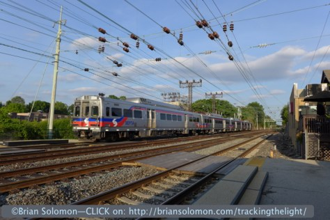 SEPTA Silverliner Vs approach Bryn Mawr on June 30, 2014. Lumix LX7 photo.