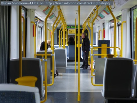 Clean modern trams run every few minutes on most routes. Lumix LX7 photo.