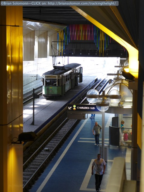 Old trams on display at Beaux Arts metro station. Lumix LX7 photo.