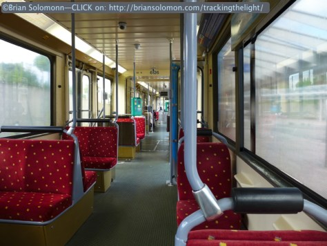 TEC tram interior. Photographed with a Lumix LX7.