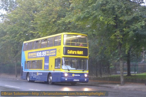 Rain in Dublin kept the queues shorter than usual. Special buses were available to shuttle Culture Night patrons. This bus was departing Mt Joy Square in a monsoon. LX7 Photo.