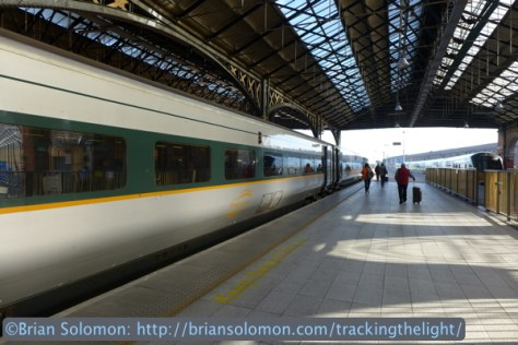 The Enterprise under the shed at Connolly Station Dublin. Lumix LX7 photo.