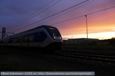 NS Spinter sunset Berkel Enschot, Netherlands. August 2014.