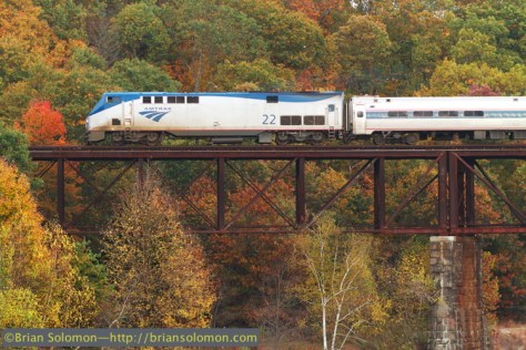 Amtrak train 54 the northward Saturday Vermonter crosses the Millers River at Millers Falls. Canon EOS 7D with 200 mm lens. Image adjusted for contrast and color balance.