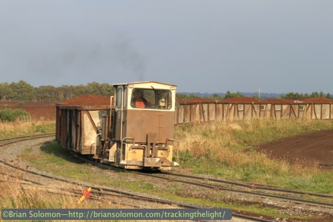 Bord na Mona loads catch the evening sun near Blackwater, September 2014. Canon EOS 7D with 100mm lens.