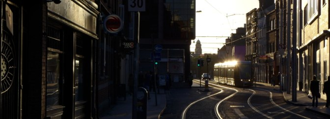 Golden LUAS on Abbey Street, Dublin