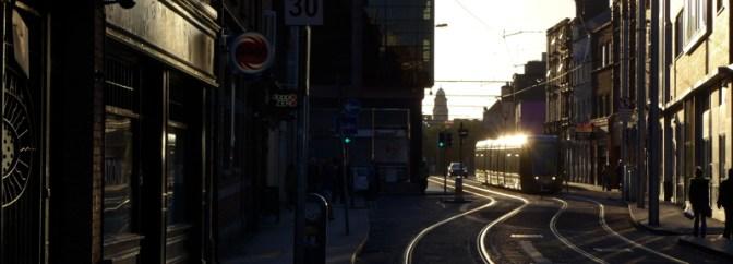 Golden LUAS on Abbey Street, Dublin