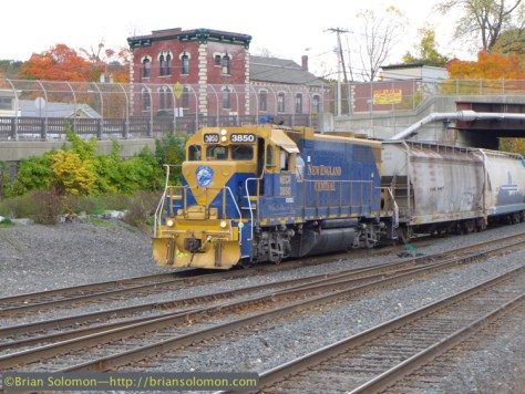 For more than 19 years, New England Central's blue and yellow GP38s have worked around Palmer. I wonder how much longer they will last? Lumix LX7 photo.