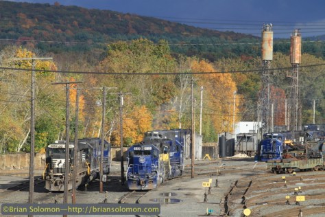 A burst of sun at East Deerfield Yard. No less than four sets of road power were idling and the yard was full of cars, but not much was moving.
