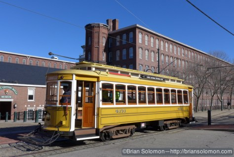 Lowell 4131 is a replica of a Brill streetcar. Lumix LX7 photo.