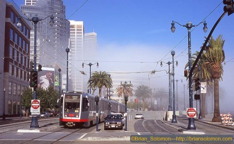 Muni N-line service on the Embarcedero, October 2003.