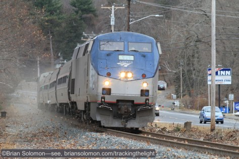Amtrak 111 leads the northward test train at Old Ferry Road in Holyoke (south of Mt Tom) on December 19, 2014. Exposed with a Canon EOS 7D with 200mm lens. ISO 800.