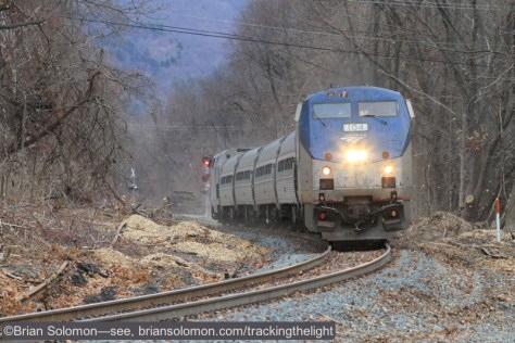 Amtrak's southward test train at Old Ferry Road in Holyoke (south of Mt Tom) on December 19, 2014. Exposed with a Canon EOS 7D with 200mm lens. ISO 800.