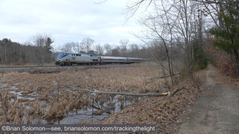 Just a few miles behind the freight was Amtrak's southward Vermonter. We'd gone out for the Vermonter, and lucked into the delayed freight train. This was especially fortuitous because we'd stopped for lunch at Amherst on the way to this 'new' location. Lumix LX7 photo.