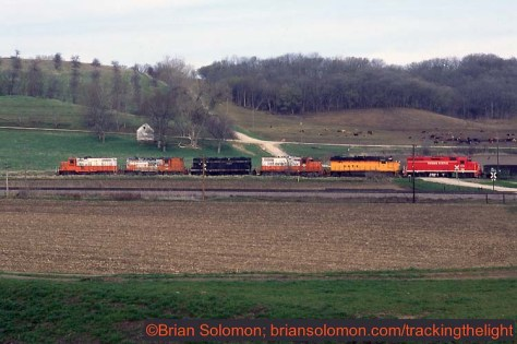 Chicago Central & Pacific westward freight near Woodbine, on April 23, 1995.