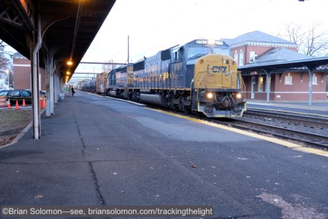 Fuji's cameras offer exceptional results at higher ISO ratings. The light was pretty dim when I photographed this CSX mixed freight rolling through West Trenton. I'd bumped the ISO up to 3200 and exposed this image using the 18-55mm lens set at 22.3mm; f3.2 at 1/160th of a second. I've sacrificed color saturation for speed. Also, in retrospect I'd had made this image about 1/3 of stop darker, but that's not a big problem. Fuji X-E2 with 18-55mm lens.