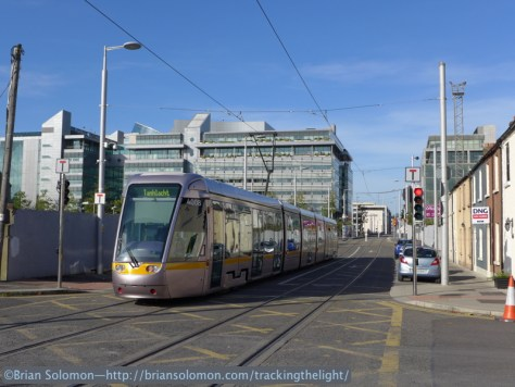 Dublin's Red Line LUAS at Spencer Dock in October 2014. Exposed with my Lumix LX7.