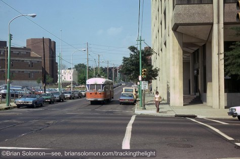 Back in August 1980, a 13 year old tourist snapped this view of a SEPTA PCC working the number 10 streetcar line. Exposed on Kodachrome 64 slide film with a Leica 3A with 50mm Summitar Lens.