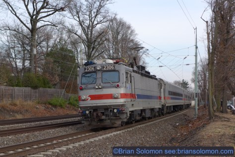 SEPTA training special inbound near Wynnewood. Lumix LX7 photo.