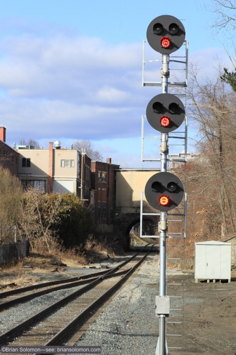 New signal near the Greenfield Station displays 'stop.'