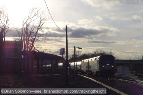 The double headed northward Vermonter arrives at Springfield just after 3pm. Lumix LX7 photo.