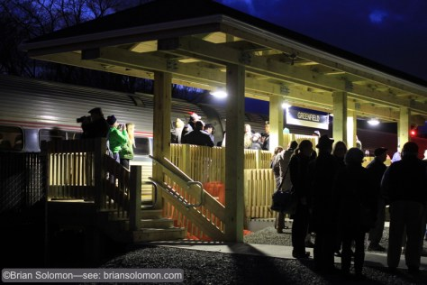 The high  ISO setting on my Canon EOS 7D proved useful. Greenfield at dusk. Train 56 making its first ever station stop.
