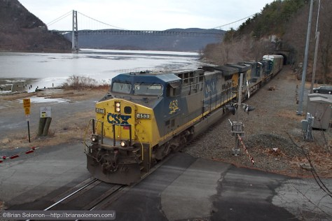 CSX's CTC style signaling alerted me to this northward freight. I had ample time to select a location and get into position before I heard it roaring northward passed Iona Island. The famous Bear Mountain Bridge makes for a nice prop. Canon EOS 7D with 20mm lens.