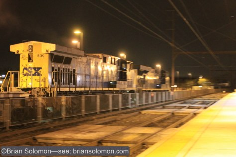 CSX Q191 rolls though Langhorne, Pennsylvania on the old Reading Company Trenton Line on January 13, 2015. Canon EOS 7D photo.