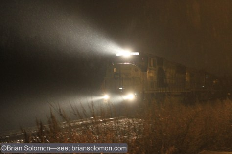 CSX Q438-10 approaches Neshaminy Falls, Pennsylvania. Canon EOS 7D with 40mm pancake lens. ISO 4000 f2.8 1/10th of second.