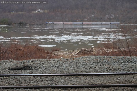 While waiting for more freights on the West Shore, I made this view of a Metro-North commuter train on the old Hudson Division which hugs the east shore of the river.