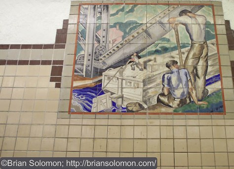 A 1930s era mural depicts the old canal. Jack May explained to me that part of the City Subway was built in the old canal bed. Exposed with a Canon EOS 7D.