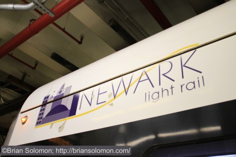 The cars are lettered for the Newark Light Rail.
