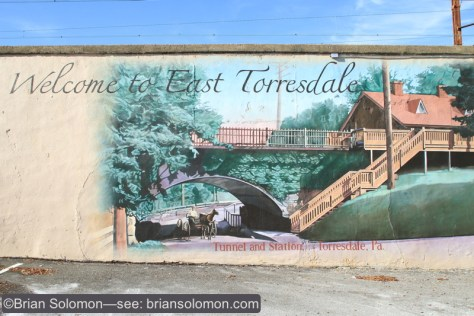 Mural on the bridge depicting more pastoral times.