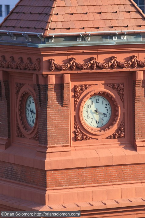 Close up of the Wilmington Station clock tower. This is a bit of Victorian elegance in a setting characterized by modern infrastructure consisting of steel and reinforced concrete. Canon EOS 7D.